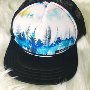 Dali e trucker hat with water color trees